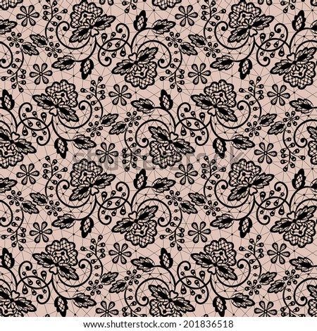 Seamless black lace pattern on beige background