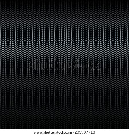 Seamless  black metal texture with highlight - stock photo