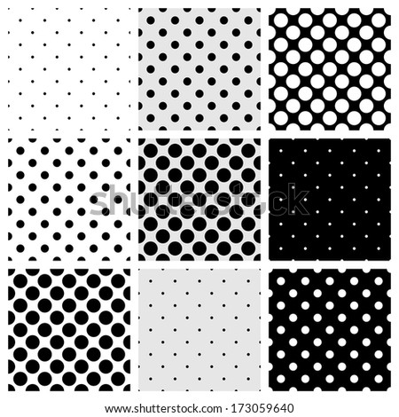 Seamless black, white and grey pattern or background set with big and small polka dots. For desktop wallpaper and website design. - stock photo