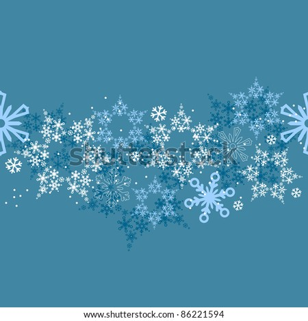 Seamless blue border with different snow flakes. Raster version. - stock photo