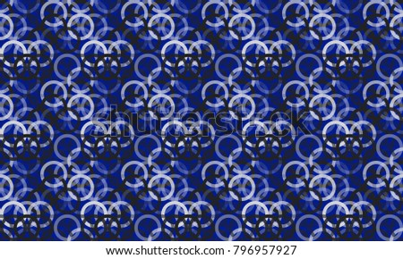 Seamless blue color overlapping rings geometric pattern background