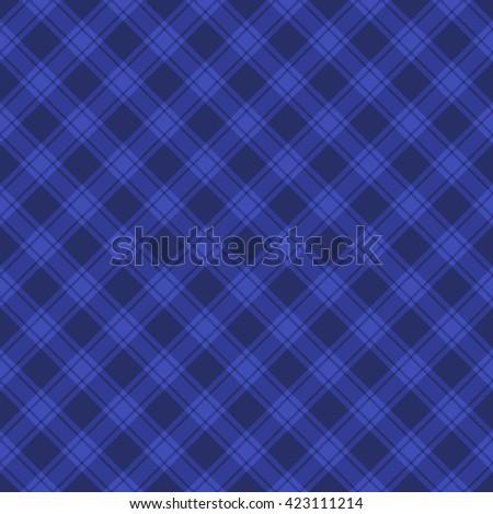 Seamless Blue Fabric Tartan Background. illustration - stock photo