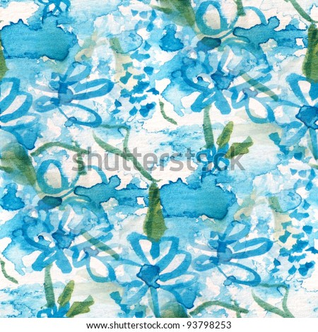Seamless Blue Floral - stock photo