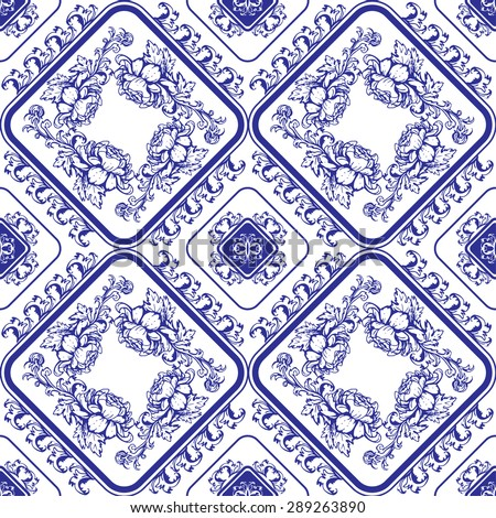 Seamless blue floral pattern. Background in the style of Chinese painting on porcelain or Russian gzhel style. Raster version - stock photo