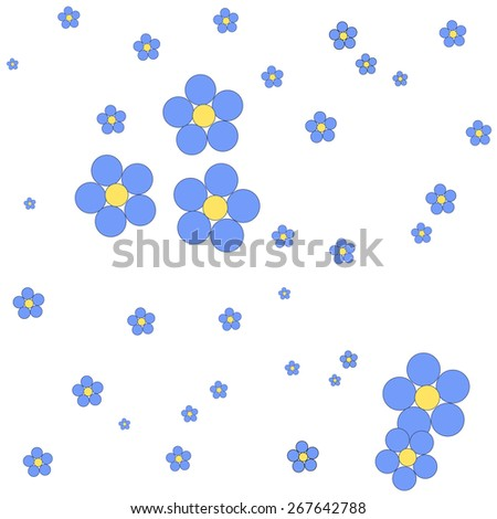 Seamless blue floral pattern on a white background. Illustration. - stock photo