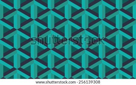 Seamless blue retro op art hex construction optical illusion pattern - stock photo