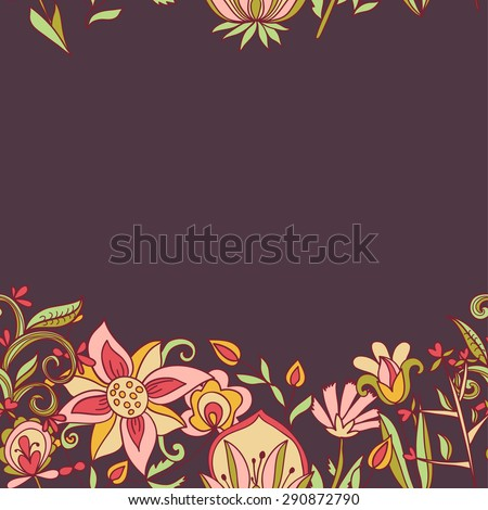 Seamless border texture with flowers. Endless floral pattern. Can be used for wallpaper, pattern, backdrop, surface textures. Full color seamless floral background