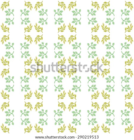 Seamless botanic elements watercolor pattern background