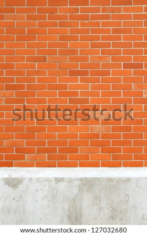Seamless brick wall on concrete basement