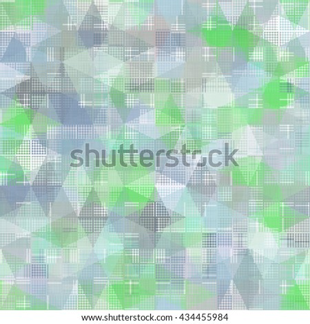 Seamless bright abstract mosaic blue and green background pattern with gloss