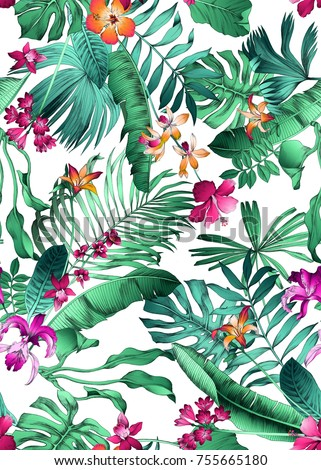 seamless bright multi color realistic tropical pattern with monstera leaves, palm and banana leaf, orchid, hibiscus, daylilies, Natal lily flowers.