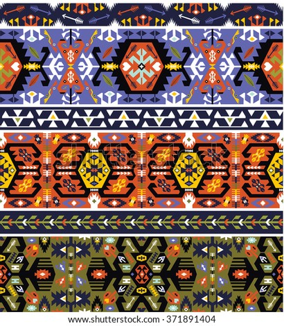 Seamless bright pattern in tribal style - stock photo