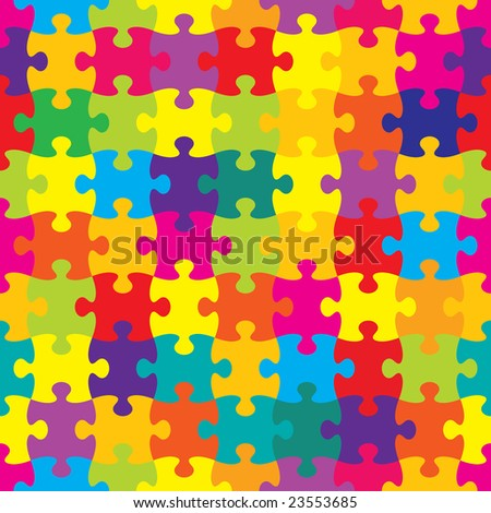 Seamless Brightly Colored Puzzle Pattern