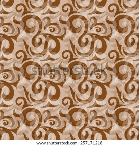 Seamless brown abstract ornate pattern with elegant leafs - stock photo