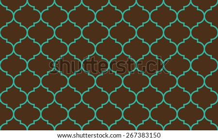 Seamless brown and blue wide moroccan pattern - stock photo