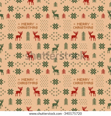 seamless brown retro christmas pattern with deers, trees and snowflakes. - stock photo