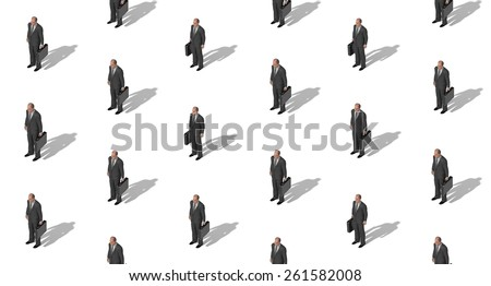 Seamless businessman pattern standing in different poses in dark suits 3d illustration - stock photo