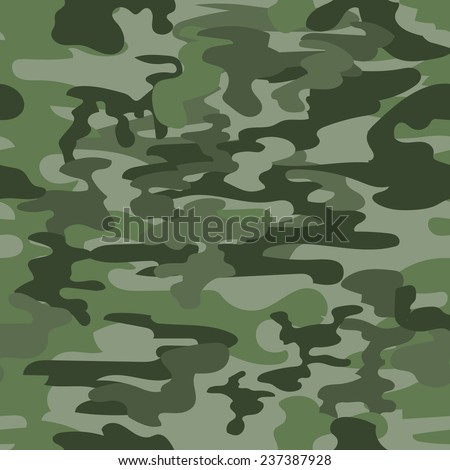Seamless camouflage military pattern in green - stock photo