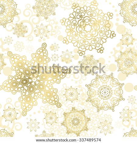 Seamless Christmas background. New Year pattern. Gold snowflakes on the white backdrop. - stock photo