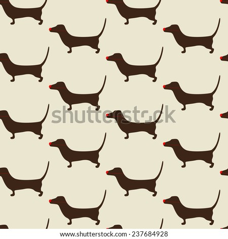 Seamless Christmas dachshund pattern with repeating cute brown dachshund wearing red nose on beige background. For holiday decoration, textile, wrapping paper, wallpaper, gift boxes, packing elements - stock photo