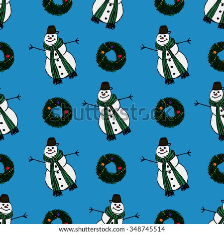 Seamless Christmas Pattern with Christmas Pine Wreath and Snowmen - stock photo