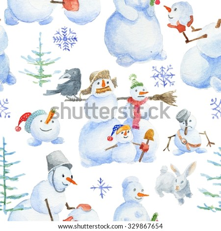 Seamless christmas pattern with cute snowman on white background. Watercolor Christmas seamless pattern with snowman, birds, rabbit, christmas tree, snowflake.  - stock photo