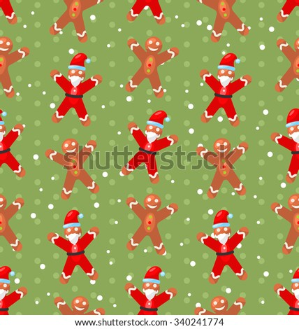 Seamless Christmas pattern with Santa Claus snow and candy cane, Xmas background - raster - stock photo