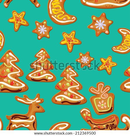 seamless christmas pattern  - xmas  gingerbread  on blue background- cookies in reindeer, star, moon and fir-tree shapes. Raster version - stock photo