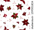 seamless christmas star flower, poinsettia, in studio photographed back light, with variations and structured stars and leaves between them, in depth of field, isolated on white - stock photo