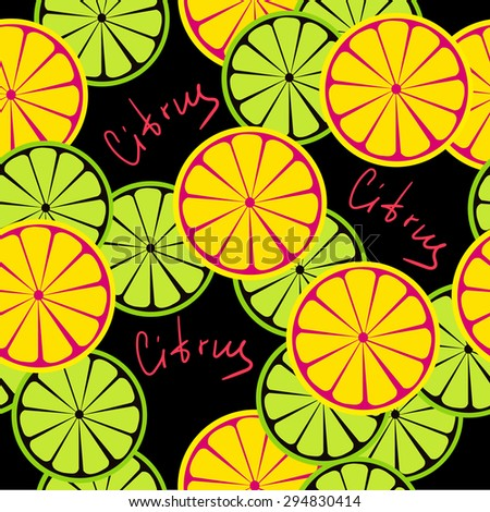 Seamless citrus pattern. Fruit background. Summer bright background with lemon and orange.