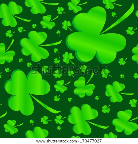 Seamless clover pattern on dark background at Patrick's Day