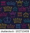 Seamless color crown pattern on dark background - stock vector