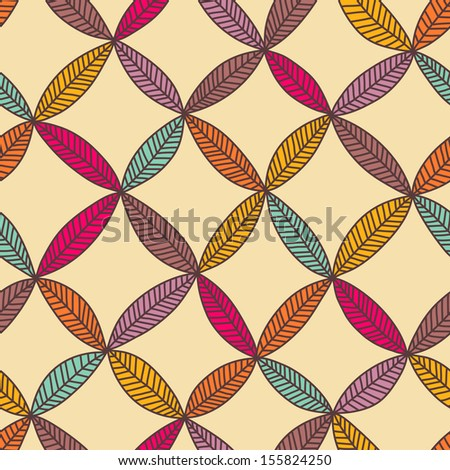 Seamless color hand drawn leaf pattern