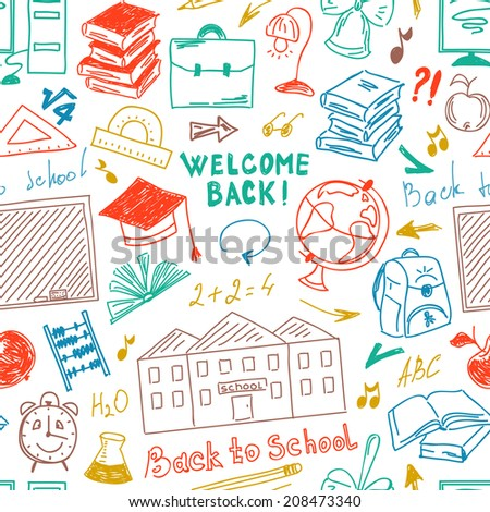 Seamless color pattern freehand drawing of school supplies - stock photo