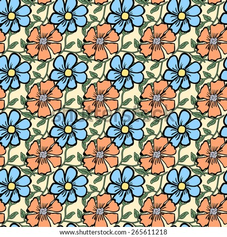Seamless color pattern with flowers.  illustration - stock photo