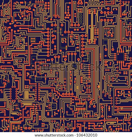 Seamless color texture - electronic circuit board - stock photo