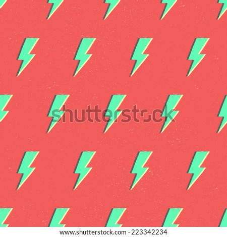 Seamless colored lightnings pattern on red background