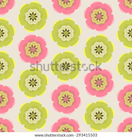 Seamless colorful background made of  abstract pink and green flowers