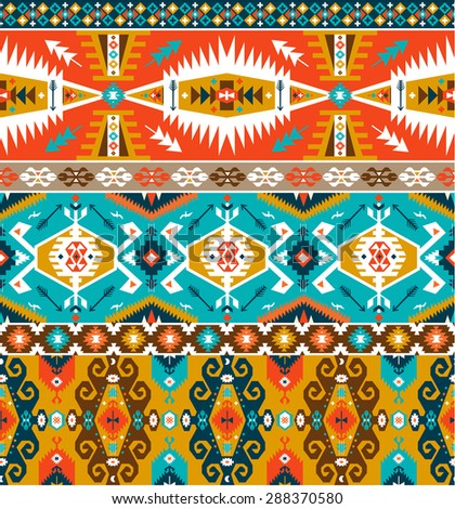 Seamless colorful decorative geometric pattern in tribal style - stock photo