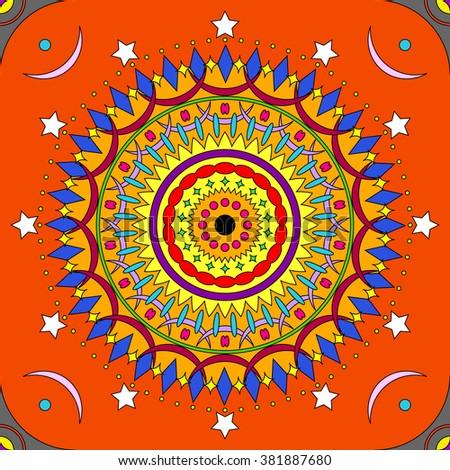 Seamless colorful mandala pattern in vivid colors - stock photo