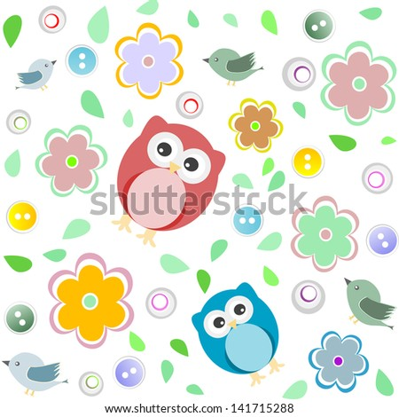 Seamless colorful owl pattern for kids background, raster - stock photo