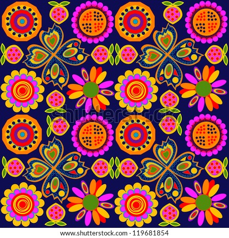 Seamless colorful pattern on a dark background - stock photo