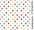 Seamless colorful polka dots pattern or texture with white background for kids background, spring blog, website design, scrapbooks or desktop wallpaper - stock photo