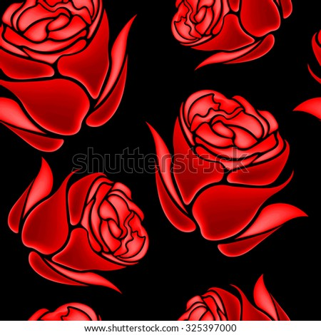Seamless colorful red rose background floral pattern