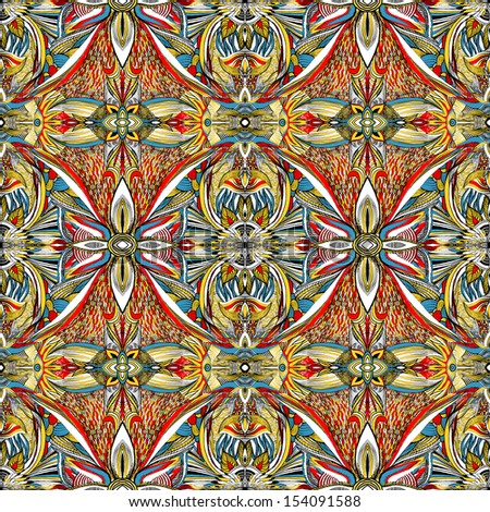 Seamless colorful symmetrical artistic pattern
