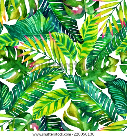 seamless colorful tropical leaves only pattern with diverse exotic plants - stock photo