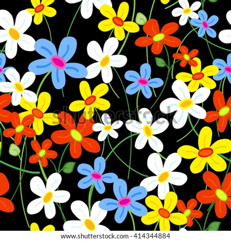 Seamless cute busy daisy flower pattern over black