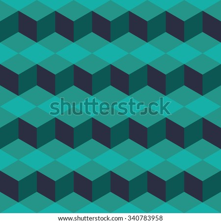 Seamless cyan isometric cubes levels puzzle illusion pattern - stock photo