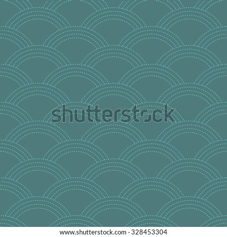 Seamless cyan oriental Japanese waves textile pattern made like stitches