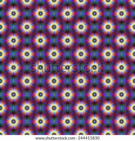 Seamless Daisies in Blue and Purple / A digital abstract fractal image with a seamless  tiled flower pattern in blue and purple. - stock photo